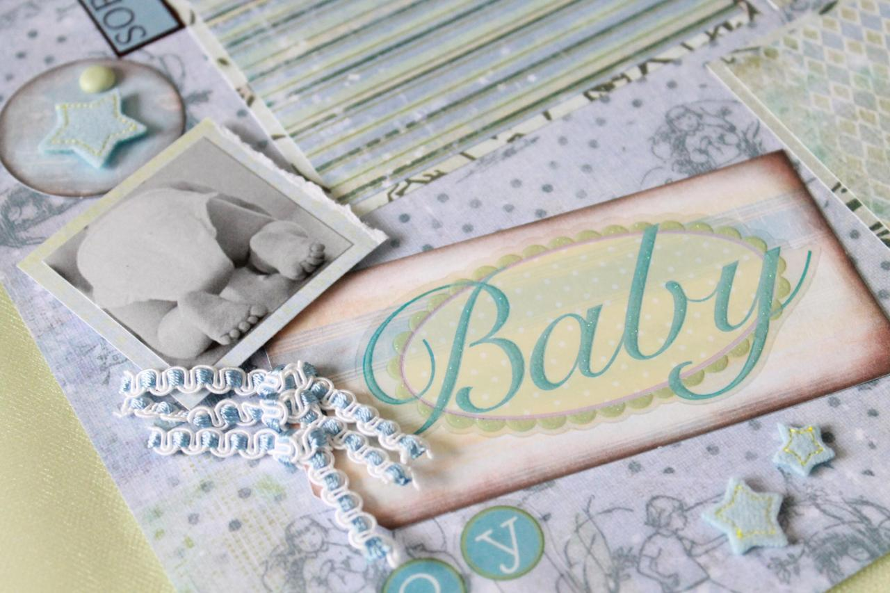"TLS Simply Elegant 12 x 12 ""Baby Boy"" Pre-made Scrapbook Pages (2) by The Leaf Studio. FREE shipping."